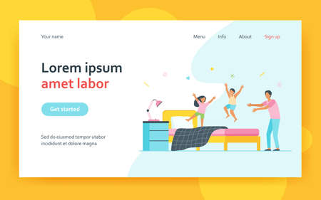 Tired father looking at kids jumping on bed. Dad, fun, noise flat illustration. Entertainment and fatherhood concept for banner, website design or landing web page