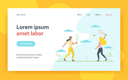 Happy women playing in badminton outdoors. Friend, racket, shuttlecock flat vector illustration. Game activity and leisure concept for banner, website design or landing web page 矢量图像
