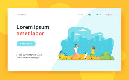 Kids and dog dancing in rain in park. Happy children with pet having fun outdoors. Flat vector illustration. Childhood, outdoor activities concept for banner, website design or landing web page 矢量图像
