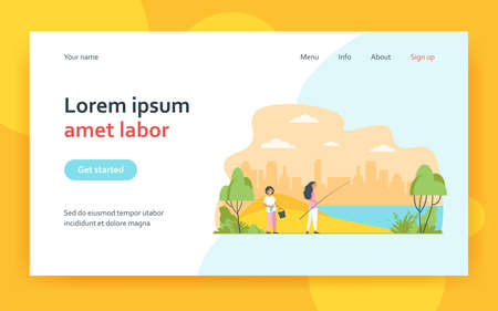 Mother woman and son kid family fishing with rod at river. Fisherman boy holding bucket and fish flat vector illustration. Summer leisure activity concept for website design or landing web page