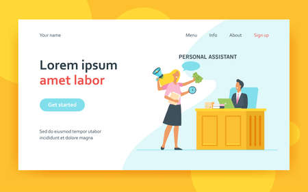 Leader working with personal assistant. Active multi armed secretary helping boss, politician, executive. Flat vector illustration. Assistance concept for banner, website design or landing web page 矢量图像