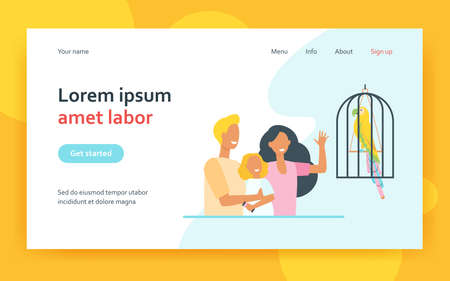 Happy family with kid watching parrot in cage. Bird, daughter, feather flat vector illustration. Exotic animals and pets concept for banner, website design or landing web page
