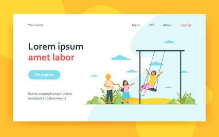 Happy kid swinging on swing. Children having fun on playground in park. Flat vector illustration. Childhood, outdoor activities, vacation concept for banner, website design or landing web page 矢量图像