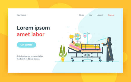 Patient dying in intensive care unit. Scythe of death, life support system. Flat vector illustration. virus hospital, grave condition concept for banner, website design or landing web page