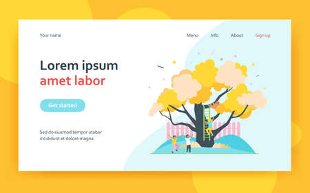 Children climbing tree and playing in summer garden. Friends leisure activity flat vector illustration. Childhood concept for banner, website design or landing web page