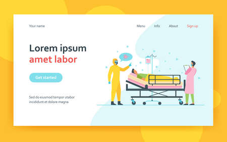 Doctors giving treatment to patient. Medical professionals in protective masks and costume. Flat vector illustration. virus hospital concept for banner, website design or landing web page 矢量图像