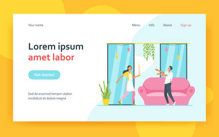 Woman with rolling pin protecting from drunk man. Home, spouse, bottle flat vector illustration. Alcoholism and relationship concept for banner, website design or landing web page 矢量图像