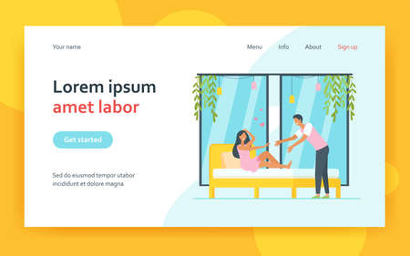 Happy young couple flirting at bedroom. Bed, heart, honeymoon flat vector illustration. Relationship and love concept for banner, website design or landing web page 矢量图像