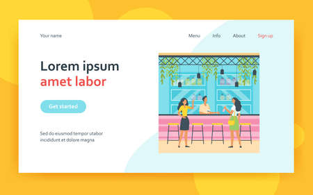 Two ladies drinking in bar and talking with bartender. Alcohol, drink, bottle flat vector illustration. Leisure and weekend concept for banner, website design or landing web page
