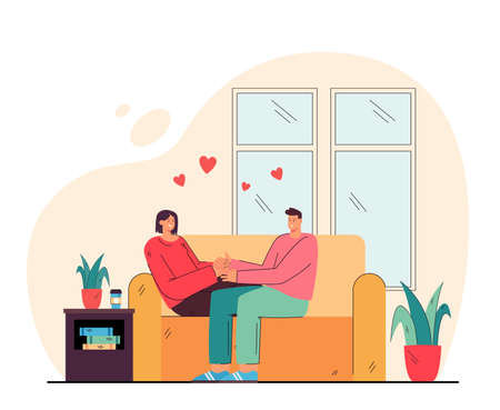 Loving couple sitting on couch together. Flat vector illustration. Man and woman hugging in living room on sofa. Family, love, home, romance, relax, date concept for banner design or landing page Vetores