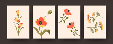 Colorful floral collection of contemporary art posters. Set of decorative flowers in pastel colors on beige background. Flowers and blossom concept for banner, postcard invitation design, background