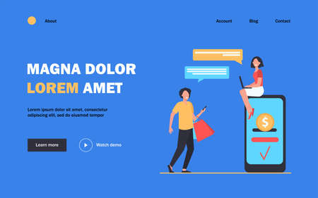 People sending and receiving money online. Man and woman using gadgets for transactions flat vector illustration. Payment system, mobile banking concept for banner, website design or landing web page