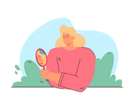 Woman worried about acne vector illustration. Displeased female character looking herself in mirror. Girl unhappy about skin condition. Skin problem concept for banner, website design or landing page