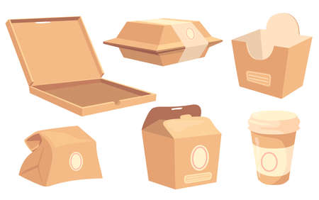Set of cartoon boxes and containers for food and drinks. Vector illustration. Collection of cardboard packagings for pizza, sushi, burgers, coffee, Chinese and fast food. Product packing, food concept