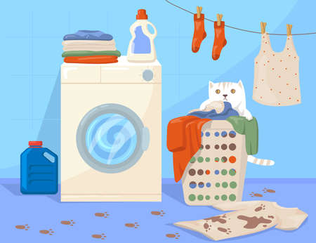 Cat sitting in laundry basket cartoon illustration. Traces of paws, clothes hanging on rope, dirty T-shirt on floor, washing machine with detergent on top. Routine, pets, chores, laundry concept Vektorové ilustrace