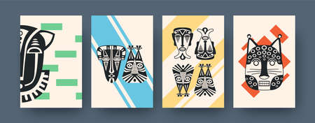 Set of contemporary art posters with African facial masks. Vector illustration. .Collection of african tribal masks in different compositions. Africa, culture, tribe, ritual, totem concept for design