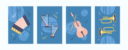 Colorful collection of art posters with musical instrument. Bright music instruments in creative style. Accordion, harp, violin and pipe on blue background. Concept for banners, website design 向量圖像