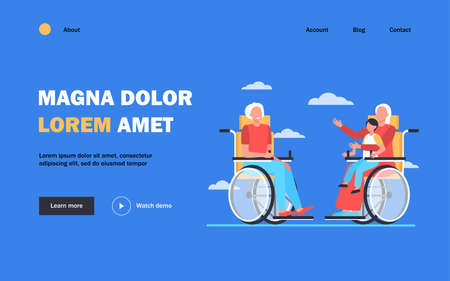 Old people in wheelchair holding kid and talking. Retirement, child, grandparent flat vector illustration. Generation and communication concept for banner, website design or landing web page