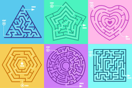 Maze games in form of different figures vector illustration set. Circle, heart, square, star, hexagon, solved puzzle with correctly marked entrance and exit. Labyrinth, riddle, mental activity concept
