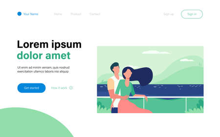 Dating couple enjoying vacation by sea. Man and woman hugging on beach flat vector illustration. Tourism, leisure, summer concept for banner, website design or landing web page Ilustración de vector