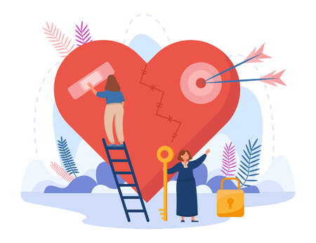 Tiny girl standing on stairs and taping broken heart. Female cartoon character holding key to lock flat vector illustration. Failure relationship, sensitive love, vulnerable person concept