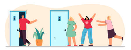 Comparison of queues for women and men in public toilets. Flat vector illustration. Man walking into empty men room while queue waiting for women toilet. Waiting, queue, time, hygiene, need concept Vettoriali