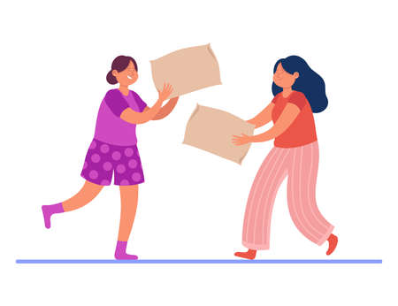Happy girls fighting with pillows. Flat vector illustration. Two female characters having fun in pajamas, hitting each other with white pillows. Girls party, sleepover, fun, friendship concept Vector Illustration