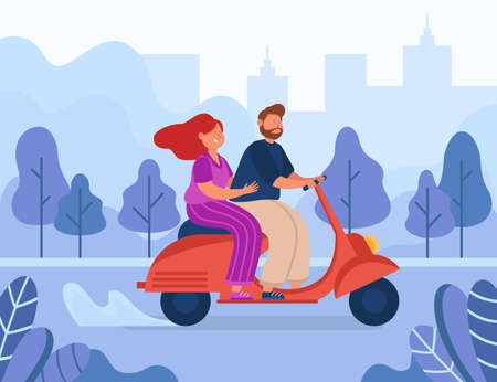Happy cartoon couple riding motorbike. Flat vector illustration. Young man and woman characters travelling by moped in city park, enjoying summer holiday together. Vehicle, romance, trip concept