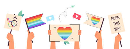 Hands holding rainbow flags and placards. Support of lesbian, gay, bi and transgender persons, people celebrating pride month flat vector illustration. LGBT, equality, solidarity concept for banner