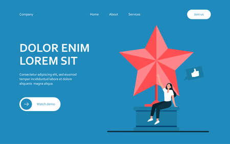 Tiny woman sitting on large golden star. Like, prize, blogger flat vector illustration. Achievement and social media concept for banner, website design or landing web page