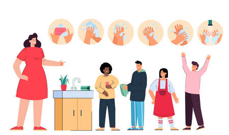 Female cartoon teacher teaching kids hand washing steps. Kids washing hands with soap in school bathroom flat vector illustration. Education, hygiene concept for banner, website design or landing page