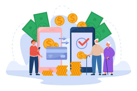 Young man sending money to his elderly parents online. Flat vector illustration. Making payment, transferring funds using giant smartphone and Internet bank app. Family, technology, donation concept Ilustracja