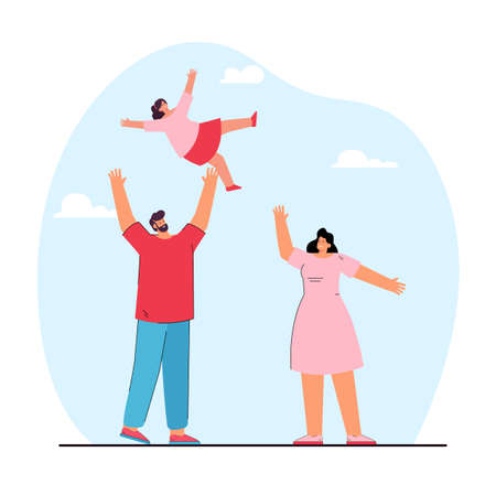 Happy cartoon father throwing daughter into air. Man, woman and girl having fun together flat vector illustration. Family, parenting, love concept for banner, website design or landing web page