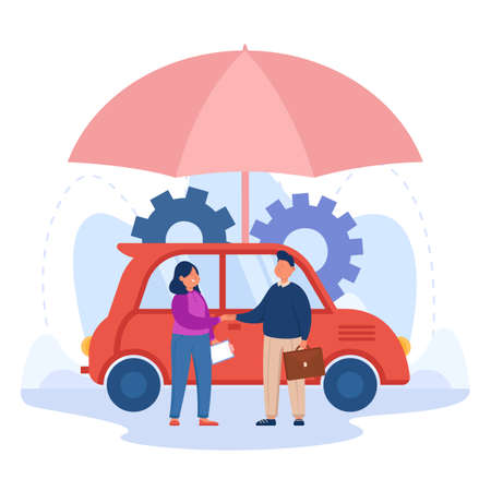 Female cartoon driver shaking hands with insurance agent. Auto under umbrella, man helping woman with insurance policy for car safety flat vector illustration. Security, assistance concept for banner Ilustracja