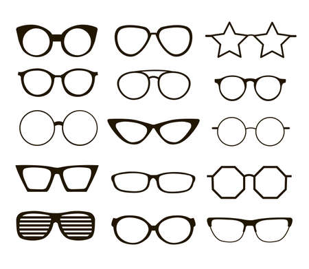Set of black eyeglasses of different shapes. Cartoon vector illustration. Old, cool, medical, hipster glasses frames isolated on white background. Style, view, image concept for banner design
