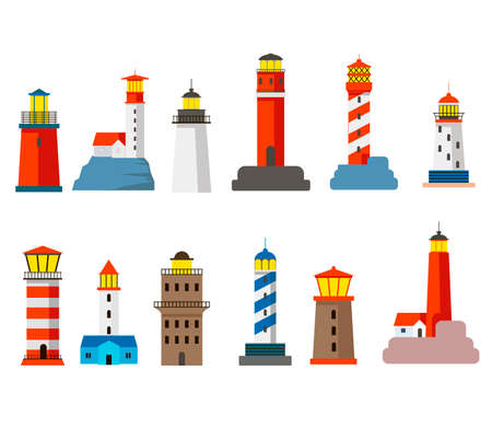 Set of colorful lighthouses cartoon vector illustration. Traditional towers standing by seaside, lighting way for ships isolated on white background. Architecture, navigation, sea, hope concept