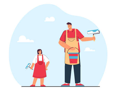 Cartoon father and daughter holding paint rollers and bucket. Man and girl getting ready to paint walls flat vector illustration. Family, renovation concept for banner, website design or landing page