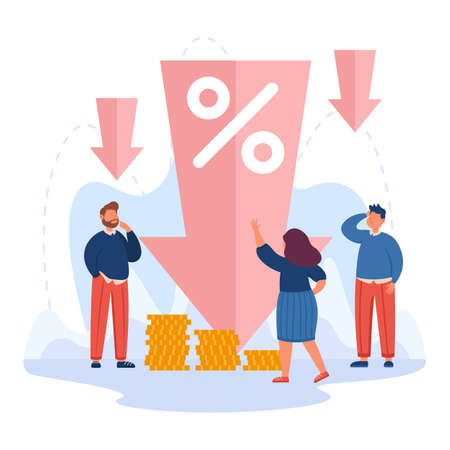 Tiny people next to down arrow with percentage symbol. Cost reduction, low price or profit, financial decrease flat vector illustration. Economy, crisis concept for website design or landing web page