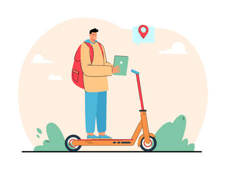 Cartoon man riding electric scooter to destination. Male character on personal transport flat vector illustration. Transportation, technology concept for banner, website design or landing web page