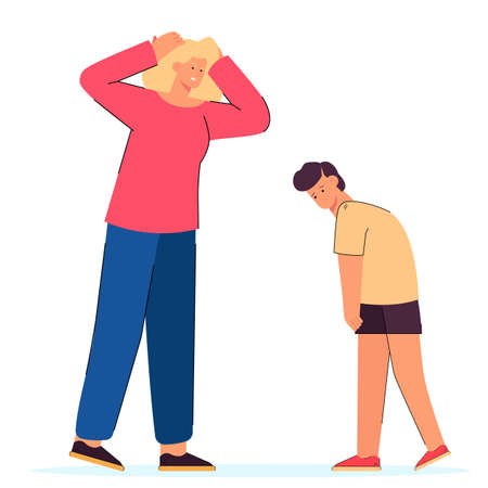 Angry mother screaming at naughty son. Flat vector illustration. Furious woman rebuking, reproaching and punishing upset child for bad behavior. Education, family, parenting, argument concept
