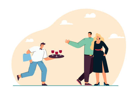 Cartoon waiter offering wine to couple in formal clothes. Staff serving man and woman on social event flat vector illustration. Restaurant service, celebration concept for banner or landing web page