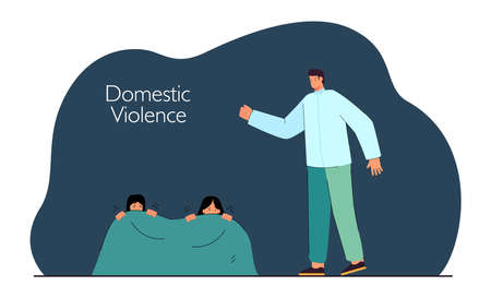 Mother and daughter hiding from angry father under blanket. Woman and girl scared of man flat vector illustration. Domestic violence, family concept for banner, website design or landing web page