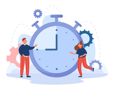 Cartoon business people with huge timer in background. Stopwatch with interval or countdown flat vector illustration. Time management, deadline concept for banner, website design or landing web page