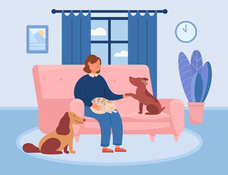 Happy cartoon woman relaxing on couch with pets at home. Girl sitting on sofa in cozy living room with adorable cat and dogs flat vector illustration. Love, domestic animals, hygge concept for banner Ilustracja