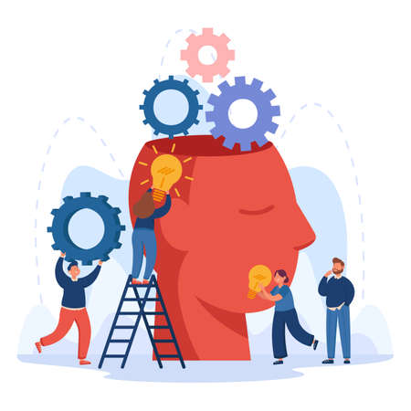 Creative characters putting idea bulbs into huge head. Office people brainstorming, doing research together, innovation flat vector illustration. Imagination, community, teamwork, education concept