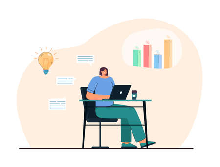 Businesswoman analyzing social media statistics on laptop. Creative woman posting content online flat vector illustration. Technology, data analysis, marketing concept for banner or landing web page
