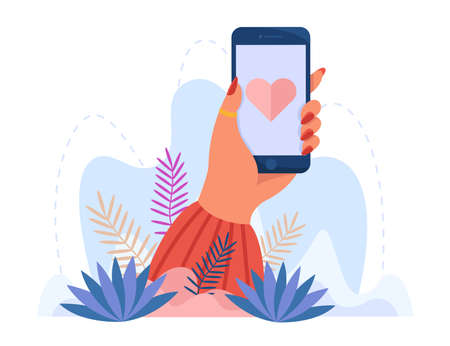 Female hand holding smartphone with romantic message on screen. Woman chatting with friend or boyfriend, mobile app for dating flat vector illustration. Love, technology, communication concept