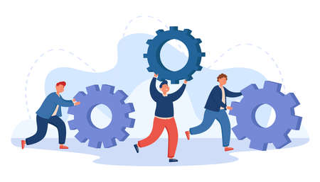 Team of business people pushing cogwheels. Repair service workers with gears, technology upgrade, persons with skills and knowledge flat vector illustration. Teamwork, cooperation concept for banner