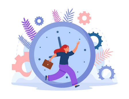 Woman with briefcase running in front of clock or chronometer. Good comic female worker going to work at early hour flat vector illustration. Time management, organization, job concept Ilustracja