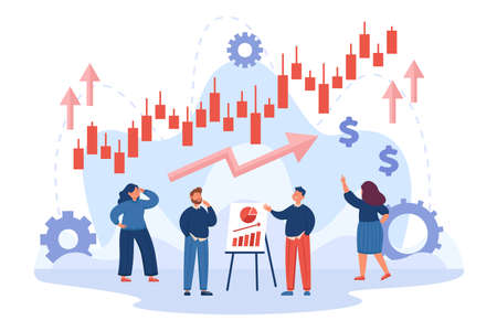 Company characters analyzing business performance or progress. Stock market growth candlestick chart, forex trading flat vector illustration. Economy, finances, promotion concept for website design